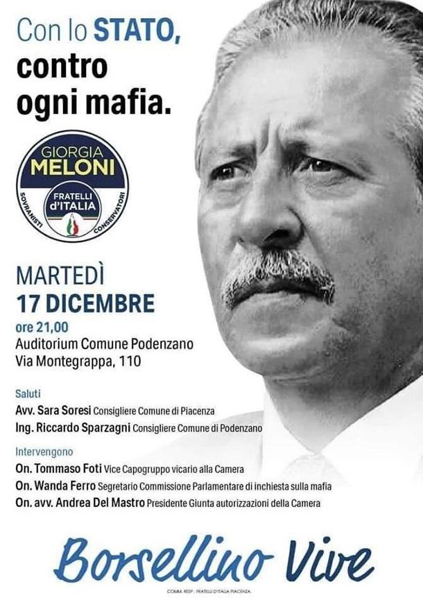 """Foto di Borsellino su manifesto politico, protesta dei figli: """"Uso illegittimo ed improprio""""."""