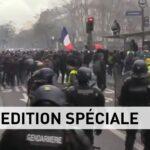 Atto 70. La diffusione del Covid-19 non ferma i Gilet Gialli. Imponente corteo di protesta a Parigi contro Macron. La polizia usa lacrimogeni contro i manifestanti