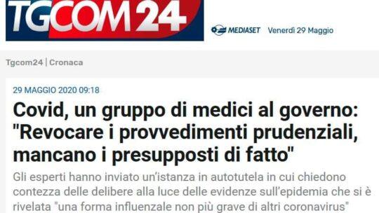 """Covid, un gruppo di medici al governo: """"Revocare i provvedimenti prudenziali, mancano i presupposti di fatto"""""""
