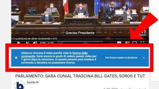 You Tube censura  il Parlamento italiano