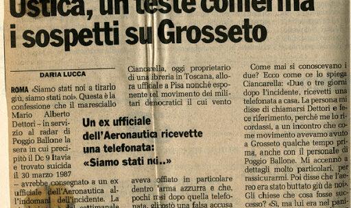 """Strage di Ustica: """"Siamo stati noi capitano, siamo stati noi a tirarlo giù"""""""