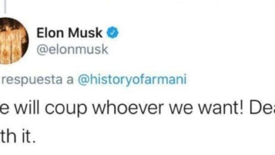 """""""Facciamo golpe dove vogliamo"""". Elon Musk (capo di Tesla) rivendica il colpo di stato in Bolivia: """""""