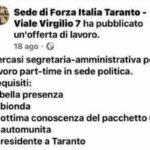 """""""Assumiamo segretaria bionda e di bella presenza"""": l'annuncio sessista della sede di Forza Italia di Taranto"""