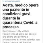 Aosta, medico opera una paziente in condizioni gravi durante la quarantena Covid: a processo