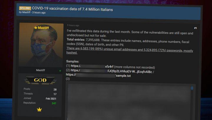 I dati dei vaccinati italiani in vendita sul deep web