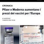 Pfizer e Moderna aumentano i prezzi dei vaccini per l'Europa
